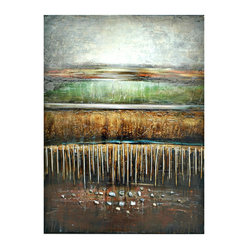 "Crestview - ""Adel"" Artwork - Layered and earthy, this vertical abstract piece adds warm grays, greens, russets and browns to your space. It's printed on thick gallery-wrapped canvas and comes ready to hang. Professionally produced artwork is a great way to add life to your room."
