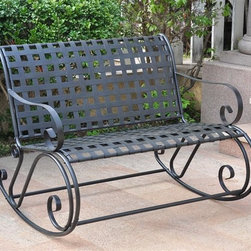 International Caravan - Outdoor Double Rocker w Scroll Iron Frame and - Large enough to seat two people comfortably, this outdoor rocker is a fast-rising favorite. It has a crossweave seat and back, rugged iron framework, curved armrests and all-weather durability. The piece is completed with a stunning antique black finish. In antique black finish. Made of iron. Unique scrollwork. Uses EP protection. 22 in. D x 44 in. L x 44.5 in. H