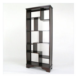 Wayborn - Wayborn Basswood Vertical Asian Storage Shelves in Dark Brown - Wayborn - Bookcases - 5416 -