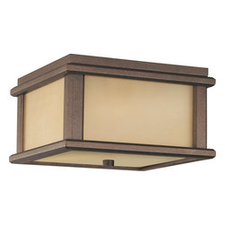 Murray Feiss - Murray Feiss Mission Lodge Transitional Outdoor Flush Mount Ceiling Light X-BC31 - Clean lines draw the eye in on this Murray Feiss outdoor flush mount ceiling light. From the Mission Lodge Collection, it features a stylish amber ribbed glass shade that adds texture and depth. The warm tones of the Corinthian Bronze finish help to soften the hard lines and pull the look together.