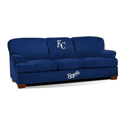 Imperial International - Kansas City Royals MLB First Team Sofa - Check out this GREAT First Team Sofa. It's super-comfortable and you won't want to get up from it. Your friends and family will enjoy hanging out watching the big game together at your place. It features team color microfiber and embroidered patch logos to display your favorite team perfectly. Handcrafted by North Carolina craftsmen, this sofa will surely be part of your game day festivities for years to come. This is a true statement piece that is perfect for your Man Cave, Game Room, basement or garage.