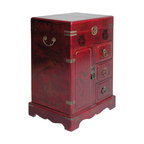 Golden Lotus - Asian Red Leather Flower Birds Nightstands End Table Chest - This is an end table / chest that is made of compressed wood and a layer of artificial leather on the surface. There is an oriental flowers birds pattern around.