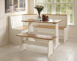 Linon Corner Nook Set, White and Natural Finish - Utilize a corner space with this three-piece set. The L-shaped booth, small table and bench can accommodate more than four people.