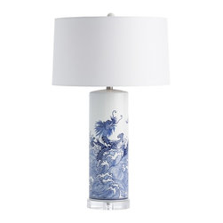 Arteriors - Arteriors Home - Midori Lamp - 17701-982 - The Midori Lamp combines traditional blue and white Chinese imagery with a modern cylinder shape, nodding to both the past and the present. This ceramic lamp rests on a clear acrylic base and is topped with a white microfiber shade lined in the same.