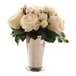 Jane Seymour Botanicals - Roses in Julep Cup - Everything is coming up roses. This creamy white permanent rose bouquet in a metal julep vase has all the splendor and elegance of fresh roses, but will never lose its beautiful blooms. What more could you ask?