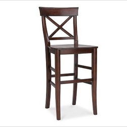 Aaron Barstool by Pottery Barn - Contoured wood back with beautiful warm stain finish. Striking on its own or with a cushion.