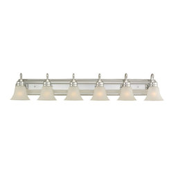 Seagull - Seagull Gladstone Bathroom Fixture in Chrome - Shown in picture: 44855-05 Six Light Wall / Bath in Chrome finish with Satin Etched Glass