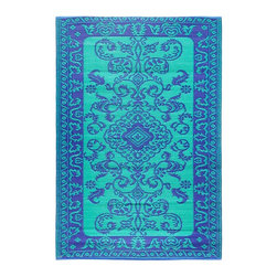 Achla - Lapis Lazuli Classic Duotone Floor Mat - Color the ground you walk or sit on with these polyurethane woven floor mats. Spread them out at the beach, on the porch, floors in the kitchen and childrens rooms or hang them on the wall. Soft on the feet and easy to wipe clean. We recommended using carpet tape to hold them in place indoors. Our mats are made to last, but like everything else, we need to take good care of them. Ideally they should be kept rolled when not in use. Try to avoid leaving mats exposed to sun or rain for long periods of time. Wash by hand and allow to drip dry. Polyurethane, woven floor mats. Used both Indoor and Outdoor. Construction Material: Plastic. No Assembly Required. 48 in. W x 72 in. D x 0.25 in. H (3 lbs.)
