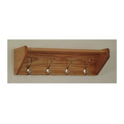 Wooden Mallet - Hat & Coat Rack w Nickel Hooks and Slatted To - Finish: Dark Red Mahogany-4 hooks: 24.75 W (12 lbs.)Sturdy hooks hold coats, hats, umbrellas and more. 2 Oak top bars mortised into the sides to easily support hats, purses, or briefcases. Pre-drilled with hardware included for simple wall mounting. Perfectly compliment Wooden Mallet's Dakota Wave furniture collections. Pictured in Light Oak. No assembly required. 9 D x 8.5 HThese attractive coat racks are stylish enough to match almost any decor. All racks are made of solid oak for extra durability. Coat and hat racks have 2 oak top bars mortised into the sides to easily support hats, purses, or briefcases. All racks are fully assembled and complete with all necessary hardware for simple wall mounting.