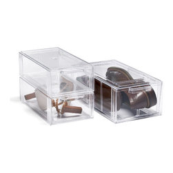 Clear Shoe Drawers - Store shoes in clear storage boxes to keep them visible while protecting them. I also like to use these to store photographs and other keepsakes in the cabinet so that I can easily tell what the box contains.