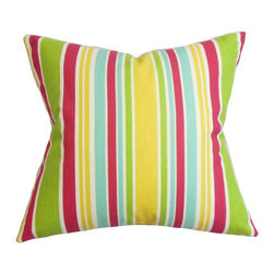 "The Pillow Collection - Kirsi Stripe Pillow Pink 18"" x 18"" - With its stripe pattern, this fancy throw pillow is the solution to your styling needs. It features a contemporary design with a splash or bright colors such as green, pink, blue, yellow and white. This plush decor pillow works as a cushion for your sofa, seat or bed. Created from 100% soft cotton fabric and proudly made in the USA. Hidden zipper closure for easy cover removal.  Knife edge finish on all four sides.  Reversible pillow with the same fabric on the back side.  Spot cleaning suggested."