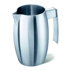 Zack - Arcua Creamer - Stylish and logical design. Brushed silk polish. Made from 18/10 stainless steel. Made in Germany. 3.9 in. H (7.1 oz.)