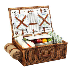 "Picnic At Ascot - Dorset Picnic Basket for Four with Blanket, Wicker w/ Gazebo - The Dorset English style picnic basket for four is made to last with quality construction and stylish details. Beautifully hand crafted using full reed willow, each basket includes ceramic plates, glass wine glasses, and the highest quality accessories.  Includes: (4) ceramic plates, glass wine glasses, stainless flatware, cotton napkins, (1) food cooler, insulated wine pouch, hardwood cutting board, spill proof salt & pepper shakers, wood handle cheese knife, stainless waiters corkscrew, and 50"" x 60"" acrylic blanket. Natural Willow with leather handle, closures, hinge covers. Lifetime Warranty."