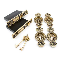 Small Oriental Double Pocket Door Mortise Lock - Privacy - Blackened Brass - This double pocket door mortise lock made of forged brass and features an ornate leaf design. Add elegance and style to your double doors with this mortise lock set.