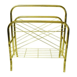 Used Vintage Brass Magazine Rack - A lovely brass magazine rack with geometric line accents. No maker's mark is visible. Super cool nonetheless!