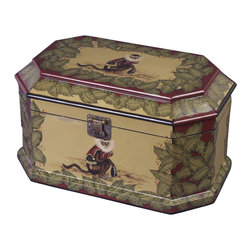AA Importing - Hand-Painted Wooden Box with Monkey Motif and - Monkey design. Hand-painted. 15 in. L x 9 in. W x 8.5 in. H