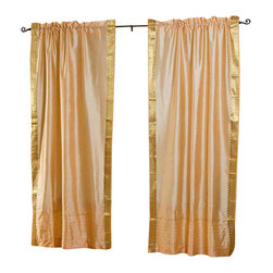 Indian Selections - Pair of Gold Rod Pocket Sheer Sari Curtains, 43 X 63 In. - Size of each curtain: 43 Inches wide X 63 Inches drop.
