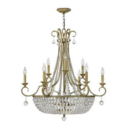 Fredrick Ramond - Fredrick Ramond Caspia Transitional Crystal Chandelier - Captivating curved arms with crystal accents, this Fredrick Ramond Caspia Transitional crystal chandelier displays a sophisticated appeal with old world charm. The elegant framing with silver leaf finish highlights the dangling crystal accents of the chandelier. When illuminated from within, sparkling reflections are produced creating a dazzling and upbeat room.