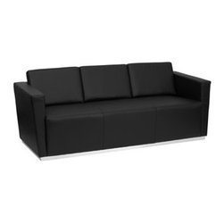 Flash Furniture - Flash Furniture Trinity Black Bonded Leather Sofa Couch - Operating out of Etowah GA (with a warehouse in Reno NV) Flash Furniture specializes in bold upbeat décor for home office or commercial spaces. With a wide array of colors and fashions to fit your budget Flash Furniture accommodates your every need.