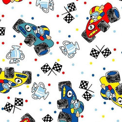"""SheetWorld - SheetWorld Round Crib Sheets - Fun Race Cars - Made in USA - This luxurious 100% cotton """"woven"""" round crib sheet features an adorable race cars print. Our sheets are made of the highest quality fabric that's measured at a 280 tc. That means these sheets are soft and durable. Sheets are made with deep pockets and are elasticized around the entire edge which prevents it from slipping off the mattress, thereby keeping your baby safe. These sheets are so durable that they will last all through your baby's growing years. We're called sheetworld because we produce the highest grade sheets on the market today."""