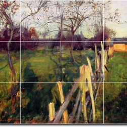 Picture-Tiles, LLC - Home Fields Tile Mural By John Sargent - * MURAL SIZE: 18x24 inch tile mural using (12) 6x6 ceramic tiles-satin finish.