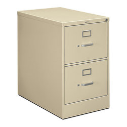 "Hon - Hon 510 2-Drawer Legal File, 29""x18""x25"" - If your overflowing paperwork and files are making you want to run for the exit, this cabinet will give you a legitimate reason to stay. In putty-colored steel, the two drawers are sized for hanging legal files. Once you get it all organized, lock it up out of sight."