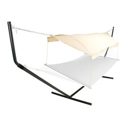 Hatteras Hammocks Hammock Canopy - The Hatteras Hammocks Hammock Canopy lets you stay cool, and yet enjoy the glorious summer weather - something you'll be thankful for on those really hot days. It features all-weather outdoor fabric and heavy-duty steel, so you and your hammock last longer. Now add this easy-peasy fabric canopy for instant shade protection.