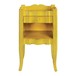 Emily Antique Yellow Side Table - A pair of these cute, sunny yellow side tables would make the perfect nightstands in a girl's room.