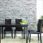 """Wholesale Interiors - Baxton Studio Sweden 5 Piece Dining Set - The Sweden Dining Set's small size is perfect for apartments or breakfast nooks and when paired with the contemporary chairs, an elegant yet simple dining solution is the result. Sturdy wood construction on both the table and chairs is finished with a beautiful rich dark brown stain and veneer. Comfortable foam cushioning and smooth dark brown faux leather on the chairs completes your new dining area. Features: -Set includes 1 dining table and 4 chairs. -Dark Brown finish. -Rubber wood and veneer construction. -Modern style. -Dark brown faux leather seats. -Polyurethane foam seat cushioning. Dimensions: -Overall Table Dimensions: 48""""W x 30""""D x 29"""" H. -Overall Chair Dimensions: 17""""W x 21""""D x 38"""" H. -Seat Height: 18""""."""