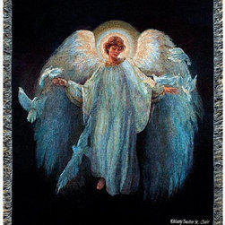 Manual - Messenger of Peace Inspirational Angel Tapestry Blanket 50 Inch x 60 Inch - This multicolored woven tapestry throw blanket is a wonderful addition to any home. Made of cotton, the blanket measures 50 inches wide, 60 inches long, and has approximately 1 1/2 inches of fringe around the border. The blanket features a depiction of artist Mary Baxter St. Clair's 'Messenger of Peace', angel inspired art. Care instructions are to machine wash in cold water on a delicate cycle, tumble dry on low heat, wash with dark colors separately, and do not bleach. This comfy blanket makes a great gift for friends and family.