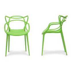 Spark Chair (2 Set) - Feel like you are in the future with our modern futuristic themed Spark Chair. Made from single molded polycarbonate with a twisted design this chair is perfect for your modern living space. Perfect for your kitchen or dining room as well. The Spark Chair is also a great modern seat for the backyard and outdoors. Comes as a single chair or a set of 2. Available in White, Black, Orange and Green