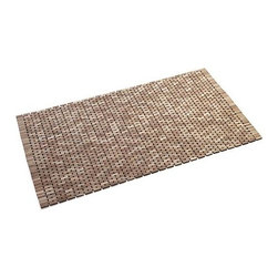 Lattice Wooden Mat - Wood chip flooring remnants find new life in hand-cut and –assembled bath mats. Woven-like design shows off color variations adding visual interest and organic appeal to the bath.