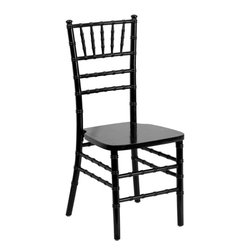 "Flash Furniture - Flash Elegance Supreme Black Wood Chiavari Chair - If you've been to a wedding, chances are you've sat in a Chiavari chair. Chiavari Chairs have become a classic in the event industry and are also highly popular in high profile entertainment events. This chair is used in all types of elegant events due to its lightweight, stacking capabilities and elegant design. Keep your guests comfortable with optional cushions and keep your chairs beautiful with optional chair covers.; 1100 lb. Static Load Weight Capacity; Wood Chiavari Chair in Black Finish; High Quality Hardwood Frame; Reinforced Stress Points provide Greater Stability, Safety and Durability; Reinforced Stress Points provide Greater Stability, Safety and Durability; Durability ensured with Steel Flat Socket Cap Screw and Lockout; Special 45° Joints Installed on bottom of front seat section for Extra Stability; Stacks up to 10 High; Constructed for Indoor and Outdoor Events; 2 Year Limited Warranty on Frame; 1 Year Limited Warranty on Seat Cushion; Ships Fully Assembled; Weight: 10 lbs; Overall Dimensions: 16.25""W x 17""D x 36.25""H"