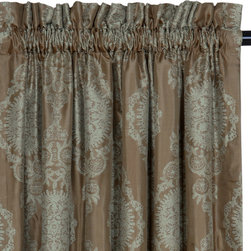 """Eastern Accents - Marbella Dark Curtain Panel Set - Dress the room in luxury with a deluxe window treatment, crafted with excellence from the finest materials. The romantic medallion pattern of the Marbella Dark design creates an opulent curtain panel set. Its metallic-toned champagne and powder blue palette has a modern yet sophisticated look. These spectacular curtain panels are made from high quality drapery fabric and are finished with a 2.5"""" header. Each panel includes a medium weight 100% cotton lining in natural and a medium weight 100% cotton flannel interlining in putty. Set of two curtain panels is available in three sizes. Professional cleaning recommended. Curtain panels measure 48""""W x 84""""L, 48""""W x 96""""L or 48""""W x 108""""L (available individually), Weighted corners and a 4"""" double hem help curtains maintain shape and fullness of fall, Blind stitched with hidden hems and seams, Includes seven drapery pins, Choose 95% light exclusion blackout lining by custom order, Rod pockets fit up to 1.5"""" Diameter pole; custom curtain rod pocket widths or rings available by request. , Email shop@laylagrayce.com for custom ordering."""