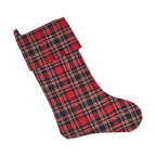 Saro - Plaid Holiday Stocking, Red SET/2 - Set the table in classic holiday plaid for a traditional table setting.