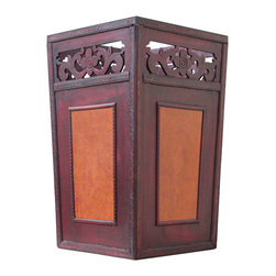 Quickway Imports - Handcrafted Umbrella Holder - Give your entryway a vintage look with this unique all handcrafted wooden umbrella holder, decorated with antique style faux leather, makes its the best piece of deore for your entryway or holway, it will attract you guests and friends.