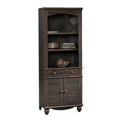 Sauder - Sauder Harbor View Library with Doors in Antiqued Paint - Sauder - Bookcases - 401632