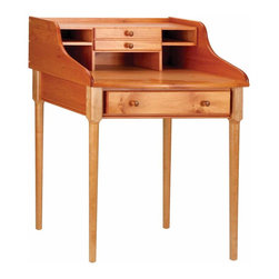 Renovators Supply - Office Desks Heirloom Solid Pine Bradford Office Desk 30'' W | 100915 - Bradford Office Desk. Ample writing surface and cubby hole storage as well as the spacious center drawer make the Bradford functional as much as it is beautiful. Crafted from solid pine with an HEIRLOOM PINE finish. The legs come unattached for shipping. Measures 38 3/4 in. H x 30 in. W x 22 in. proj.