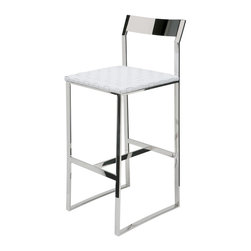 Nuevo Living - Camille Stainless Steel Bar Stool in White Leather by Nuevo - HGDJ766 - The Camille Stainless Steel Bar Stool in White Leather by Nuevo features a polished stainless steel frame and woven leather upholstery over CFS foam padding.