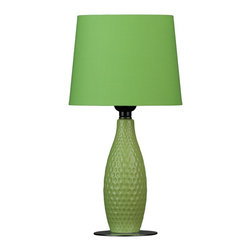 Cortesi Home - Madison Small Table Lamp - What the Madison table lamp lacks in size it makes up for in design. The honeycomb base in a ceramic material is light green and complimented with a lime green shade. Great addition to a small desk or accent table. UL approved. ON/OFF switch on  plug-in cord. 40 Watt Bulb Max (Not Included)