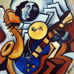 """""""Blue Guitar, Painting"""" - """"My Indigo Blue Guys with a blue guitar in acrylic on mdf. This one has a frame, it's simple black wood with natural accents. Ready to hang."""""""
