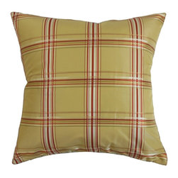 """The Pillow Collection - Quelane Plaid Pillow Fiesta 20"""" x 20"""" - Turn your home into a relaxing haven by adding this chic decor pillow. Provide dimension and texture to your interiors by accessorizing your living room, bedroom or guestroom with this plaid pillow. Adorned with a classic pattern with a combination of festive shades like orange, green and brown, this square pillow makes a good statement piece. Made from 100% high-quality polyester fabric. Hidden zipper closure for easy cover removal.  Knife edge finish on all four sides.  Reversible pillow with the same fabric on the back side.  Spot cleaning suggested."""