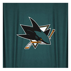 Sports Coverage - NHL San Jose Sharks Hockey Locker Room Shower Curtain - Features: