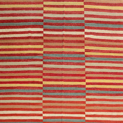 """ALRUG - Handmade Multi-colored Oriental Kilim  7' x 9' 10"""" (ft) - This Afghan Kilim design rug is hand-knotted with Wool on Wool."""
