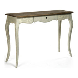 Kathy Kuo Home - French Country Rochelle Narrow Curved Leg Console Table - We love it when a piece delivers as much character as this French Country inspired console.  The sleek 'saber' legs, create a sense of instant femininity, which is further emphasized by the curved underside of the table surface.  Don't be fooled by the pretty face and contrast top - this beauty has brains, too; delivering storage along with style with one center drawer.