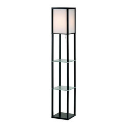 Adesso - Adesso Berk Shelf Floor Lamp, Black - 3603-01 - The Berk lamp has a black wood framed rectangle inside of which nylon strings are closely strung vertically and lined with white PVC to create an ambient light shade