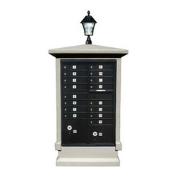 Qualarc, Inc. - Stucco CBU Mailbox Center, SHORT Pedestal (Column Only) in Slate Gray with Bayvi - Decorative Stucco CBU Mailbox Center