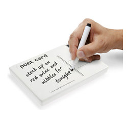 j-me design - Postcard Memo Pad - The Post Card Memo Pad gives you a stylish way to leave notes. It can be used to leave short messages, reminders or even funky doodles. You'll never have a problem leaving messages for your friends and loved ones with this dry-erase ceramic memo post card. The Post Card Memo Pad is easy to use over and over again, just wipe it clean and write a new message!