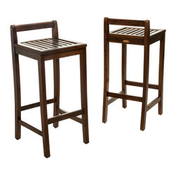 Great Deal Furniture - Catrina Mahogany Stained Wood Bar Stools (Set of 2) - The Catrina Wood Bar Stools can be used indoor or outdoor. At standard bar height these stools will complete your dining room or bar area with their natural acacia wood and rich mahogany color.