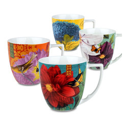 Waechtersbach - Impressions Set of 4 Assorted Mugs Impressions - Birds, bugs and flowers adorn this colorful set of four porcelain mugs. Each piece sports a different design (and a generous handle), so everyone in the family can have a favorite.